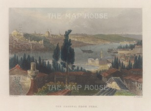 Constantinople: Panoramic view from Pera looking over the Imperial Arsenal and the Golden Horn towards St Sophia.