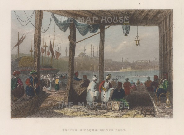 Constantinople: Coffee Kiosk: Looking into the port towards St Sophia.
