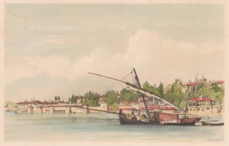 Constantinople: Seraglio Point. View along harbour.