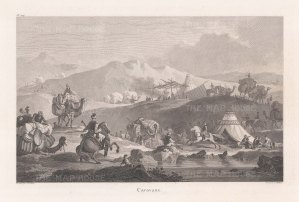 Lively scene of a caravan and encampment.