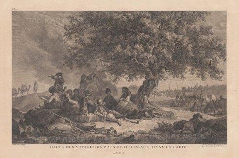 "de Choiseul-Gouffier: Dourlach. 1782. An original antique copper engraving. 15"" x 10"". [TKYp993]"