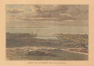 """Reclus: Willemsted (St Ana de Curacao), Antilles. 1894. A hand coloured original antique wood engraving. 8"""" x 6"""". [WINDp1254]"""
