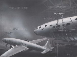 Bristol Brabazon: View of the plane under construction with a half scale model as comparison. After Roland Davies.