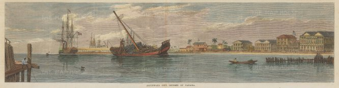 """Illustrated London News: Colon, Panama. 1866. A hand coloured original antique wood engraving. 20"""" x 6"""". [CAMp182]"""
