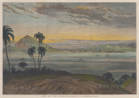 "Illustrated London News: Panama Port, Panama. 1868. A hand coloured original antique wood engraving. 14"" x 10"". [CAMp190]"
