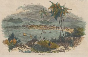 Panama Bay. Settlement and yachts in bay.