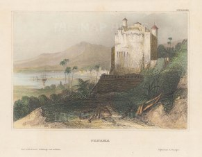 Panama bay: View of the fortification.