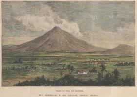 "Illustrated London News: Jilboa Valley, San Salvador. 1891. A hand coloured original antique wood engraving. 8"" x 6"". [CAMp213]"