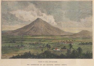 "Illustrated London News: San Salvador. 1891. A hand coloured original antique wood engraving. 8"" x 6"". [CAMp213]"