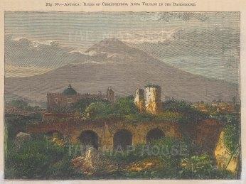 "Illustrated London News: Christchurch, Guatemala. c1865. A hand coloured original antique wood engraving. 7"" x 5"". [CAMp224]"