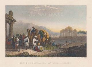 Kattiawar: Scene of travellers and escort after Capt Robert Grindlay.