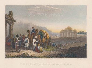 "White: Kattiawar. 1838. A hand coloured original antique steel engraving. 7"" x 5"". [INDp1550]"