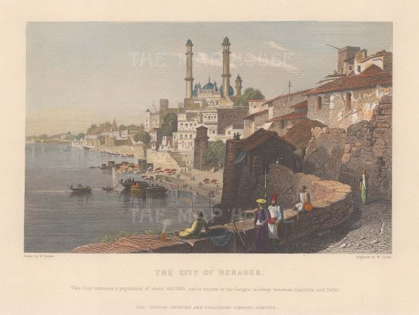 Benares (Varanasi): View on the Ganges.