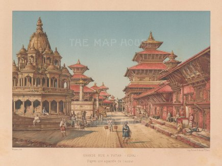 Nepal: Patan. View on the central avenue.