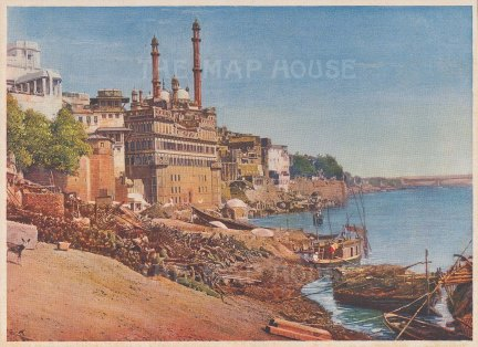 Benares: The River and Burning Ghats.