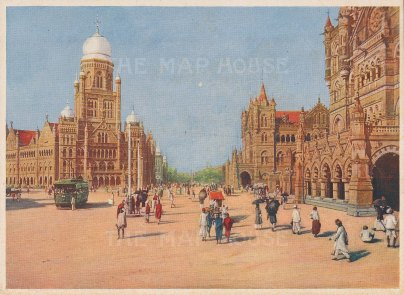 Bombay: The Municipal Offices and Victoria Terminus.