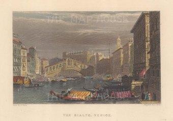 "Fullarton: Venice. 1856. A hand coloured original antique steel engraving. 5"" x 4"". [ITp2284]"
