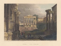 "Fullarton: Rome. 1856. A hand coloured original antique steel engraving. 5"" x 4"". [ITp2285]"