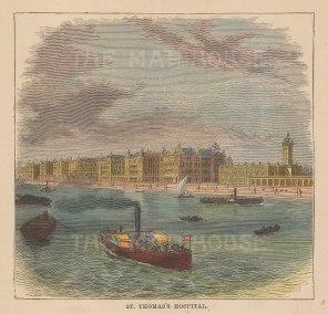 "Graphic Magazine: St.Thomas's Hospital. c1880. A hand coloured original antique wood engraving. 5"" x 5"". [LDNp10801]"