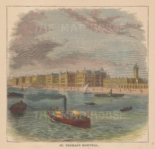 "Graphic Magazine: St.Thomas's Hospital. c1880. A hand coloured original antique wood engraving. 5"" x 5"". 9LDNp10801]"
