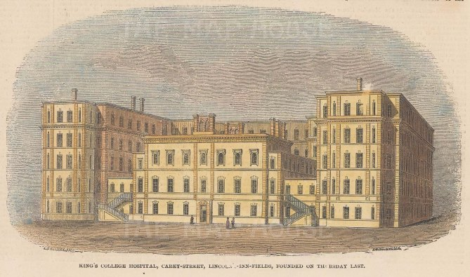 """Illustrated London News: King's College Hospital. 1852. A hand coloured original antique wood engraving. 7"""" x 4"""". [LDNp10802]"""