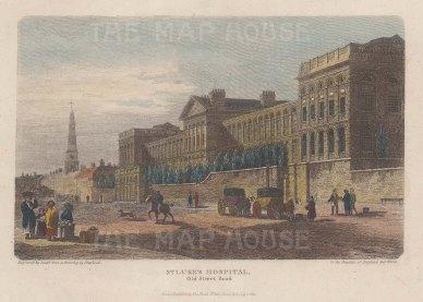 St Luke's Hospital: View on Old Street of the psychiatrist William Battie's new hospital for mental illness.