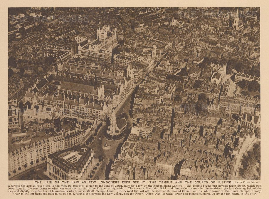 Aerial view of the Inns of Court: Looking over the Temple and courts of Justice. With text.