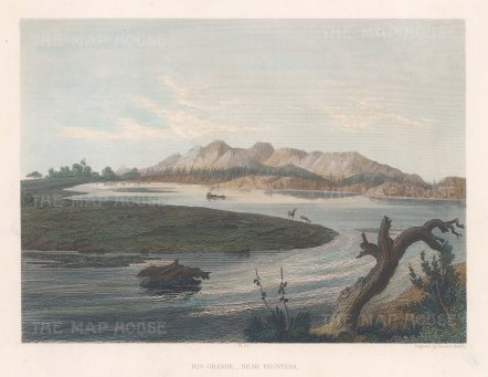 "Smillie: Rio Grande. c1850. A hand coloured original antique steel engraving. 9"" x 7"".[MEXp187]"