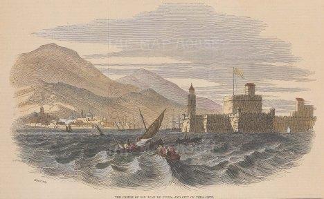 "Illustrated London News: Castle of San Juan de Ulloa. 1847. A hand coloured original antique wood engraving. 9"" x 6"". [MEXp191]"