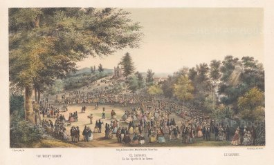 San Agustin de las Cuevas: Easter celebrations with the Chapel of Cavalry on the Avenida Insurgentes Sur in the distance.
