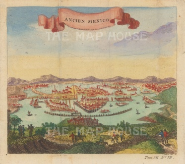 Ancien Mexico: View of the Aztec capital of Tenochtitla (Mexico city) as it was before Spanish conquest.