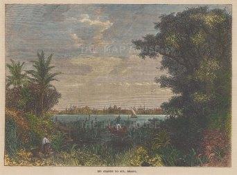 "Illustrated London News: Rio Grande. 1867. A hand coloured original antique wood engraving. 9"" x 6"". [SAMp1470]"