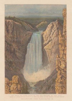 "GGraphc Magazine. Yellowstone Park, Wyoming. 1888. An original antique chromolithograph. 9"" x 12"". [USAp5011]"