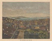 "Brown: San Francisco, California. 1876. A hand coloured original antique wood engraving. 6"" x 4"". [USAp5016]"