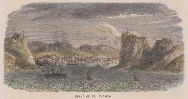 "Illustrated London News: Charlotte Amalie, St. Thomas. c1880. A hand coloured original antique wood engraving. 7"" x 4"". [WINDp1034]"