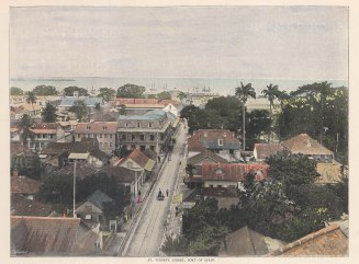 Aerial view over rooftops of St. Vincent Street, looking towards harbour.