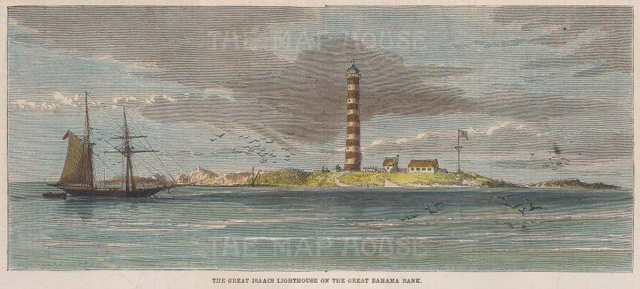 "Illustrated London News: Bahamas. 1859. A hand coloured original antique wood engraving. 10"" x 5"". [WINDp1060]"