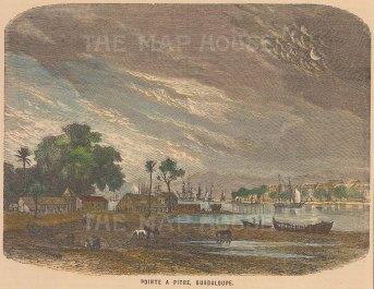 "Garnier: Pointe a Pitre, Guadaloupe. c1880. A hand coloured original antique wood engraving. 6"" x 5"". [WINDp1078]"