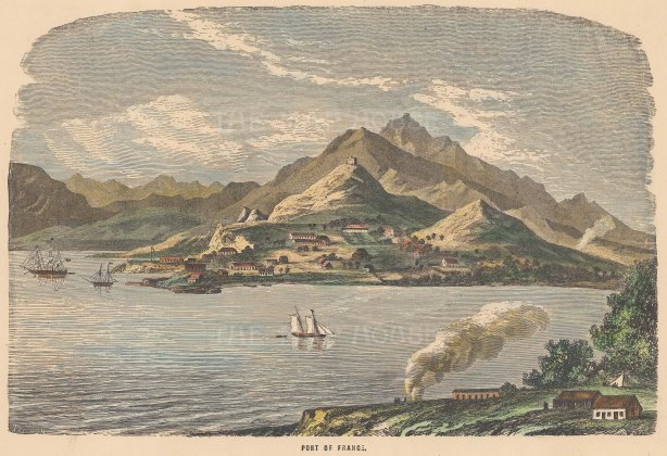 "Collins: Port of France, Martinique. c1880. A hand coloured original antique wood engraving. 10"" x 6"". [WINDp1084]"