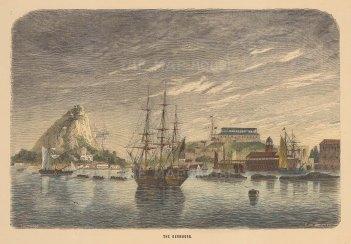 "Berard: St George, Bermuda. c1870. A hand coloured original antique wood engraving. 10"" x 7"". [WINDp1087]"