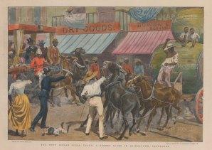 "Graphic Magazine: Bridgetown, Barbados. 1898. A hand coloured original antique wood engraving. 12"" x 9"". [WINDp1093]"