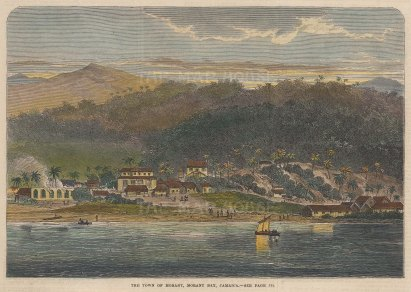 "Illustrated London News: Morant, Jamaica. 1865. A hand coloured original antique wood engraving. 10"" x 7"". [WINDp1108]"