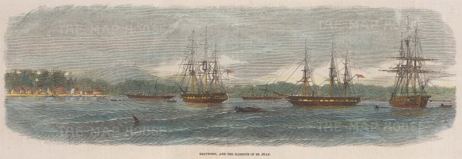Greytown and the Harbour of St. Juan. Panoramic view from the sea.