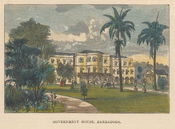 """Illustrated London News: Government House, Barbados. c1850. A hand coloured original antique wood engraving. 5"""" x 4"""". [WINDp1174]"""