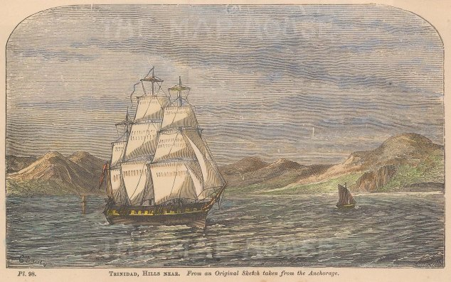 "Anonymous: Point Gourde, Trinidad. c1880. A hand coloured original antique wood engraving. 6"" x 4"". [WINDp1186]"