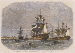 "Illustrated London News: Grassy Bay, Bermuda. 1862. A hand coloured original antique wood engraving. 14"" x 10"". [WINDp1198]"