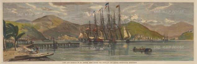 "Illustrated London News: Charlotte Amalie, St. Thomas. 1867. A hand coloured original antique wood engraving. 20"" x 7"". [WINDp1200]"