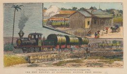 The Terminus and arrival of the first train at Carrington's Point.