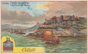 """Ciblis: Santiago, Cuba. 1900. An original antique chromolithograph. 5"""" x 3"""". [WINDp1206]"""