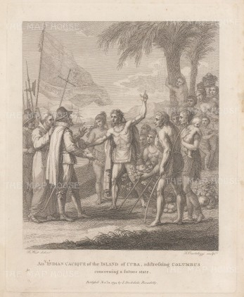 Christopher Columbus: A tribal chief and his entourage in discussion with Columbus.